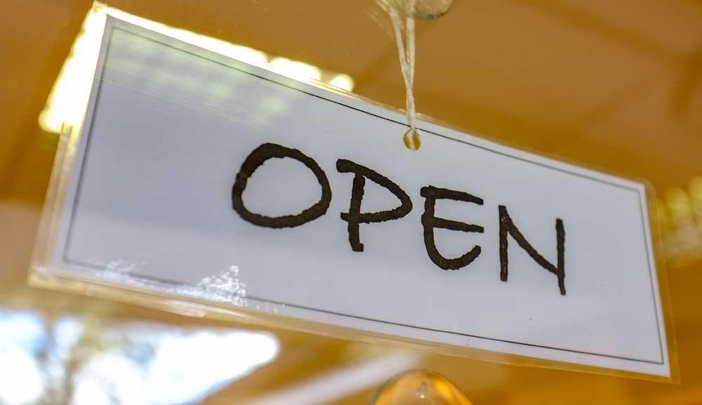 Open Sign at Lorraine Bonete Opticians