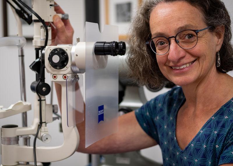 Lorraine Bonete with Optical Testing Equipment