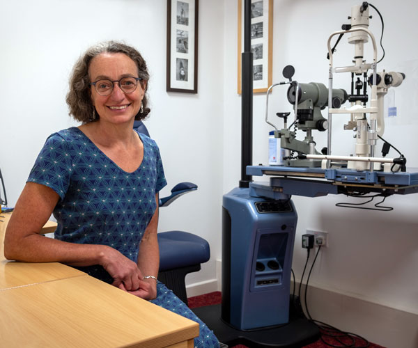 Lorraine Bonete in Opticians Examination Room